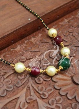 Lovely Mangalsutra with Ruby Stone and Multi Colour Onyx