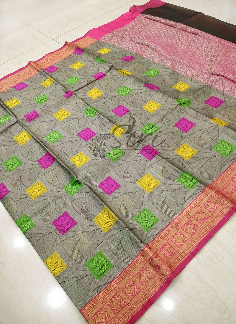 Lovely Multi Colour Banarasi Kora Saree in Tanchoi Weave
