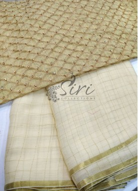 Lovely Offwhite Fine Chiffon Saree in Zari Checks