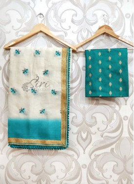 Lovely Offwhite Rama Green Designer Kota Saree