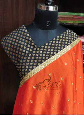 Lovely Orange Black Chinon Crepe Designer PartyWear Saree