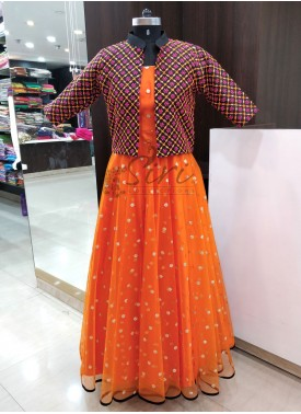 Lovely Orange Frock with Waist Coat
