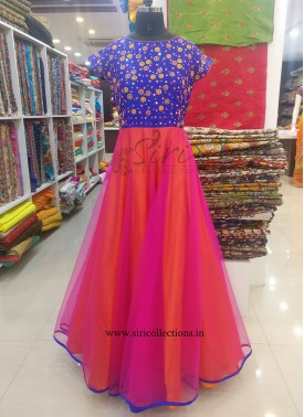 Lovely Orange Pink Designer Long Frock