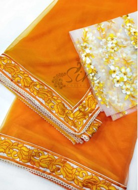 Lovely Orange Yellow Shaded Silky Net Designer Sar