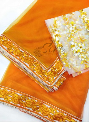 Lovely Orange Yellow Shaded Silky Net Designer Saree