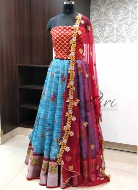 Lovely Organza Lehenga Fabric with Raw Silk Blouse and CutWork Dupatta
