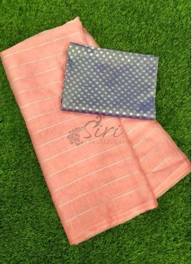 Lovely Organza Saree in Zari Checks With Banarasi Silk Blouse Fabric