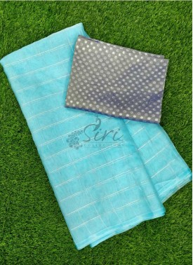 Lovely Organza Saree in Zari Checks With Banarasi