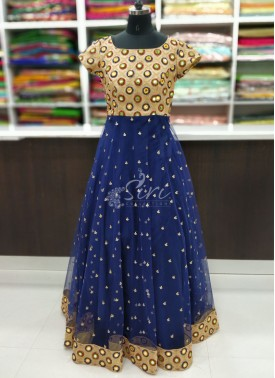 Lovely Partywear Long Frock In Mirror Work