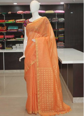 66a396f5bd0fb Lovely Peach Banarasi Linen Saree in Rich Pallu-