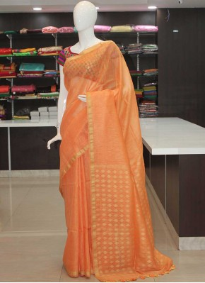 Lovely Peach Banarasi Linen Saree in Rich Pallu-