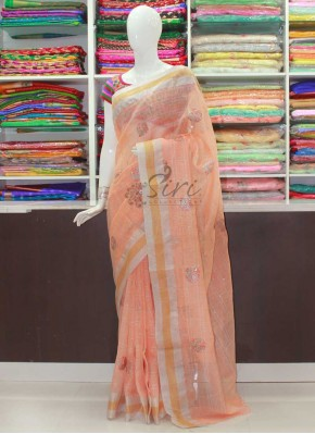 Lovely Peach Banarasi Linen Saree with Embroidery Work Butis
