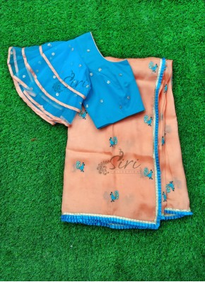 Lovely Peach Jute Silk Saree with Designer Patterned Blouse