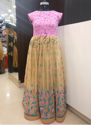 Lovely Pink Blue Gold Net Long Frock