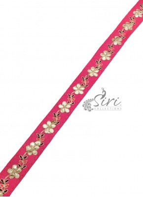 Lovely Pink Lace Trim Border in Gota Work