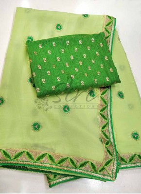 Lovely Pista Green Chinon Saree in Designer Borders and Embroidery Work Butis