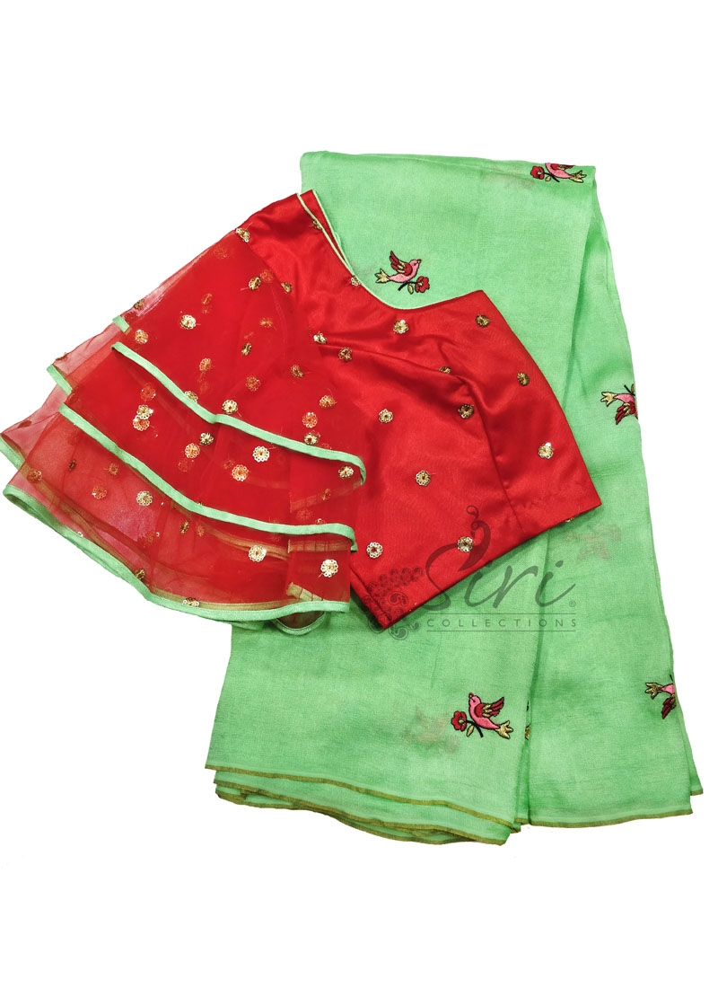 Lovely Pista Green Jute Silk Saree with Designer Patterned Blouse