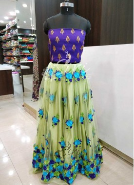 Lovely Pista Green Net Lehenga Fabric and Purple Raw Silk Crop Top Fabric Set