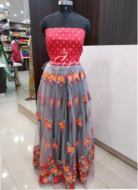Lovely Grey Net Lehenga Fabric and Gajri Peach Raw Silk Crop Top Fabric Set