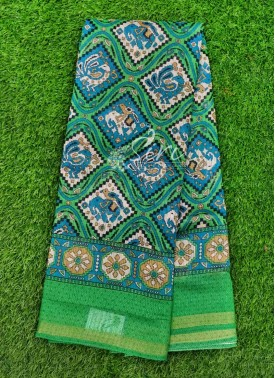 Lovely Printed Fancy Jute Saree