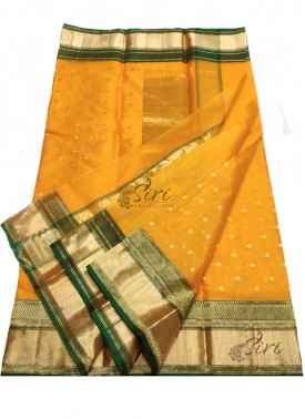 Lovely Pure Chanderi Katan Kora Silk Saree in beautiful Contrast Border