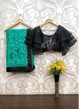 Lovely Rama Green Net Saree in Embroidery Work in Sequins Work Border