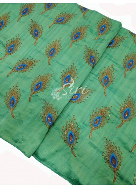 Lovely Rama Green Raw Silk Fabric in Peacock Feather Embroidery Work Per Meter
