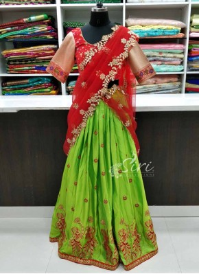 Lovely Red Green Lehenga Blouse with Cutwork Dupatta