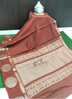 Lovely Rustic Brown Fancy Cotton Silk Saree