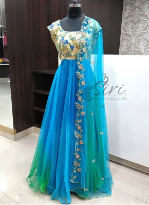 Lovely Shaded Long Frock in Blue and Green with Cut Work Dupatta