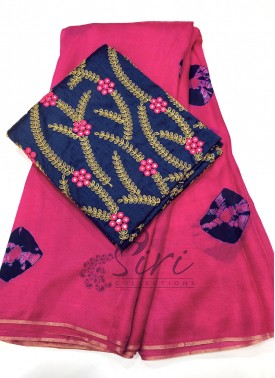 Lovely Shibori Jute Silk Saree With Embroidery Work Blouse Fabric
