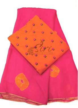 Lovely Shibori Jute Silk Saree With Embroidery Wor