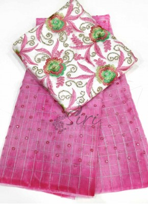 Lovely Shibori Organza Saree with Sequins Work Buti
