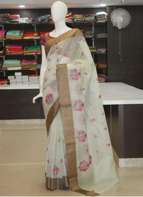 Lovely Silver Tissue Kota Saree in Embroidery Work