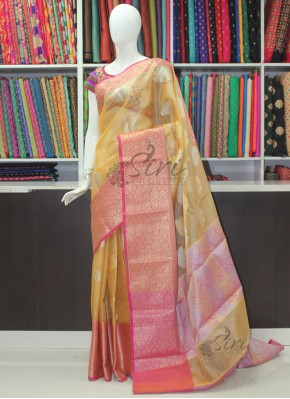 Lovely Tissue Kora Saree in Sandal Yellow