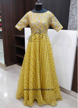 Lovely Yellow Georgette Checks Gold Net Long Frock