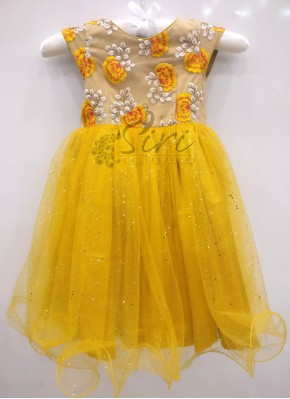 Lovely Yellow Gold Net Frock for One Year Old
