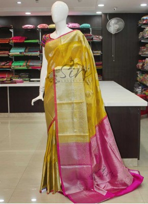Lovely Yellow Magenta Pink Pure Kanchipuram Silk Saree in Rich Silver Zari