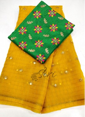 Lovely Yellow Organza Saree with Designer Blouse Fabric