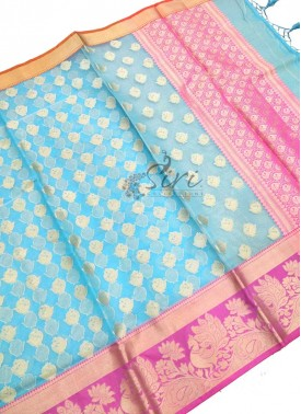 Lovely Blue Pink Banarasi Kora Saree
