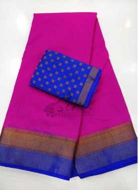 Magenta Blue Fancy Silk Saree