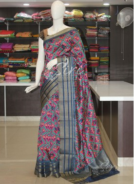 Magenta Navy Blue Patola Design Fancy Silk Saree