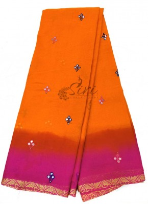Orange Magenta Georgette Saree in Faux Mirror Work