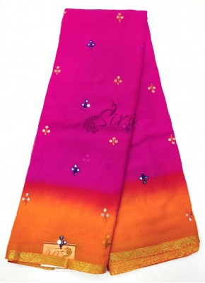 Magenta Orange Georgette Saree in Faux Mirror Work