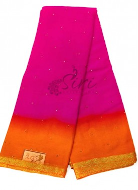 Magenta Orange Georgette Saree in Small Gold Beads