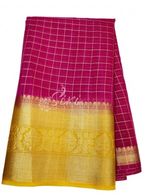 Magenta Organza Checks Fabric with Kanchi Border per meter