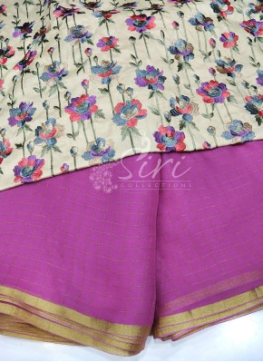 Magenta Pink Fine Chiffon Saree in Zari Checks