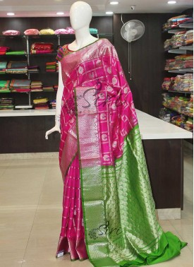 Magenta Pink Green Pure Kanchipuram Silk Saree in Rich Silver Zari