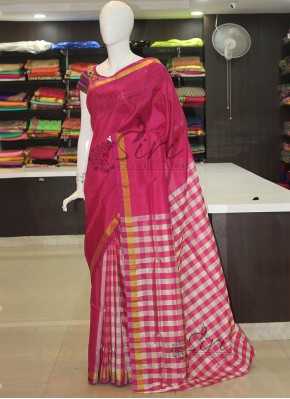 Magenta Pink Offwhite Checkered Design Patli Pallu Uppada Silk Saree