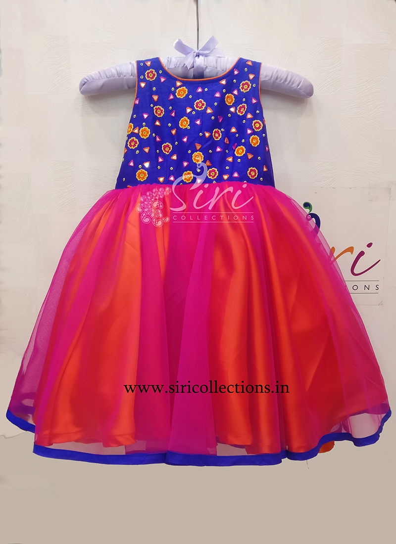 Magenta Pink Orange Blue Beautiful Kids Frock with Hand Work for One Year Old